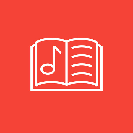 music book: Music book thick line icon with pointed corners and edges for web, mobile and infographics. Vector isolated icon. Illustration