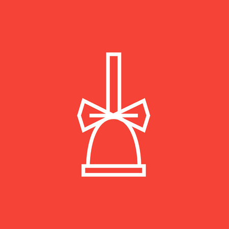 ding dong: School bell with ribbon thick line icon with pointed corners and edges for web, mobile and infographics. Vector isolated icon.