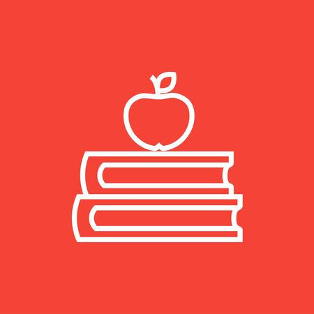 classbook: Books and apple on the top thick line icon with pointed corners and edges for web, mobile and infographics. Vector isolated icon.
