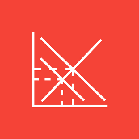 ordinate: Mathematical graph thick line icon with pointed corners and edges for web, mobile and infographics. Vector isolated icon.