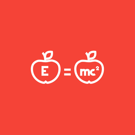 mc2: Two apples with formulae thick line icon with pointed corners and edges for web, mobile and infographics. Vector isolated icon. Illustration