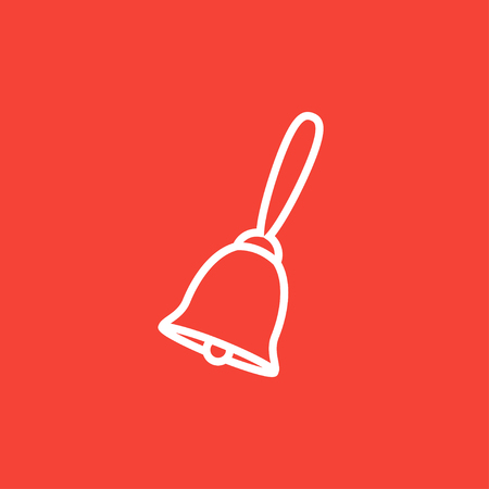 ding dong: School bell thick line icon with pointed corners and edges for web, mobile and infographics. Vector isolated icon. Illustration