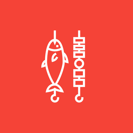 shish kebab: Shish kebab and grilled fish thick line icon with pointed corners and edges for web, mobile and infographics. Vector isolated icon.