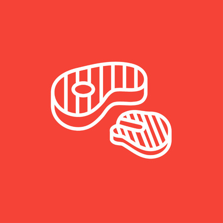 Grilled steak thick line icon with pointed corners and edges for web, mobile and infographics. Vector isolated icon. Illustration