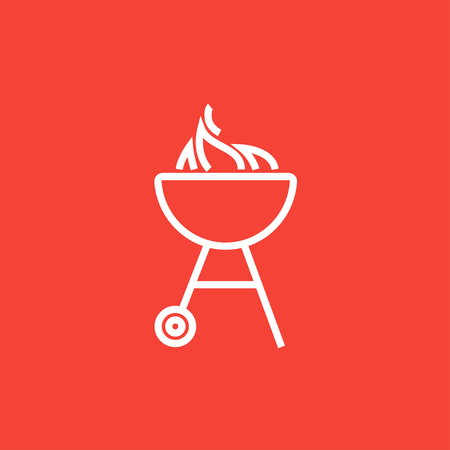 barbecue stove: Kettle barbecue grill with flame thick line icon with pointed corners and edges for web, mobile and infographics. Vector isolated icon.