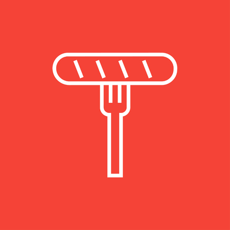 tine: Sausage on the fork thick line icon with pointed corners and edges for web, mobile and infographics. Vector isolated icon. Illustration