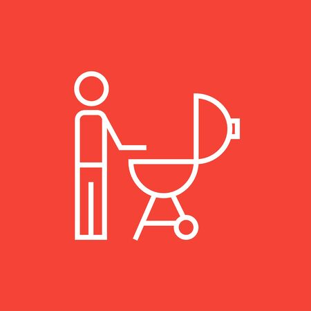 Man at kettle barbecue grill thick line icon with pointed corners and edges for web, mobile and infographics. Vector isolated icon.