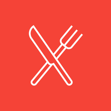 Crossed  knife and fork thick line icon with pointed corners and edges for web, mobile and infographics. Vector isolated icon. 向量圖像