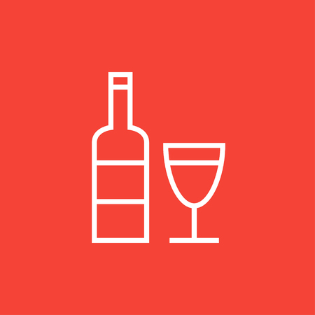 brandy: Bottle of wine thick line icon with pointed corners and edges for web, mobile and infographics. Vector isolated icon.