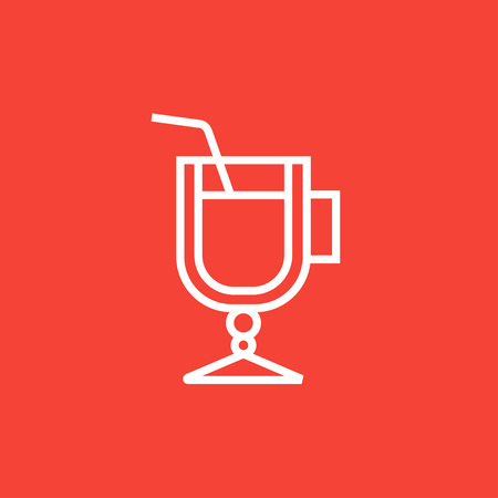 Glass with drinking straw thick line icon with pointed corners and edges for web, mobile and infographics. Vector isolated icon. Ilustracja