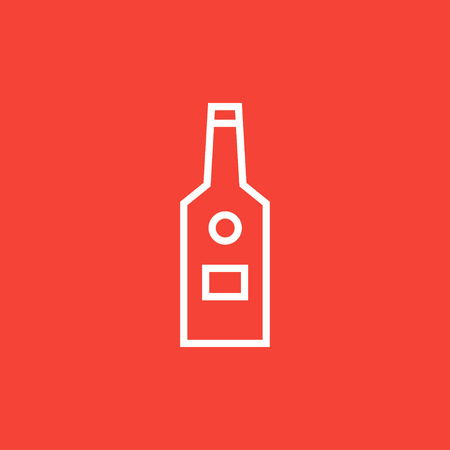 scotch whisky: Glass bottle thick line icon with pointed corners and edges for web, mobile and infographics. Vector isolated icon. Illustration