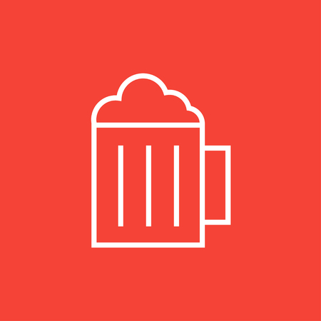 Mug of beer thick line icon with pointed corners and edges for web, mobile and infographics. Vector isolated icon.