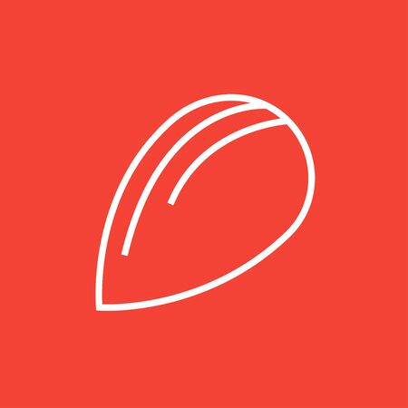 flavorful: Almond thick line icon with pointed corners and edges for web, mobile and infographics. Vector isolated icon. Illustration