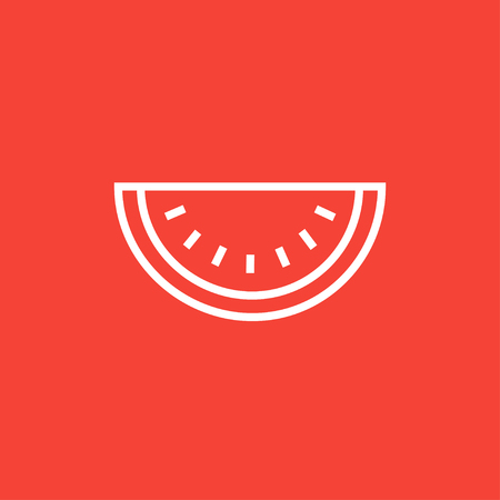 Watermelon thick line icon with pointed corners and edges for web, mobile and infographics. Vector isolated icon. Banco de Imagens - 54939265