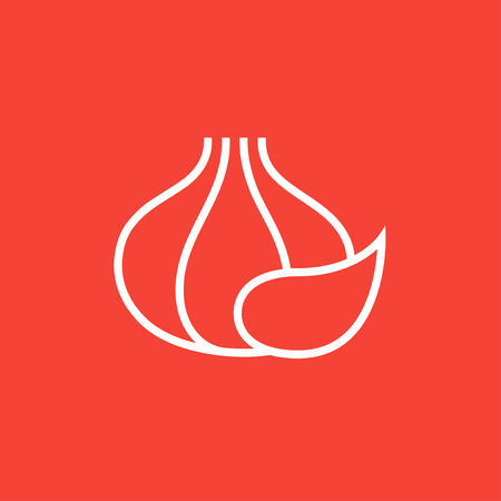 Garlic thick line icon with pointed corners and edges for web, mobile and infographics. Vector isolated icon.