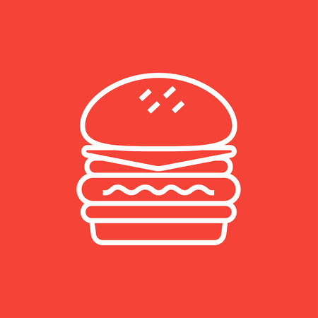 hand cartoon: Double burger thick line icon with pointed corners and edges for web, mobile and infographics. Vector isolated icon.