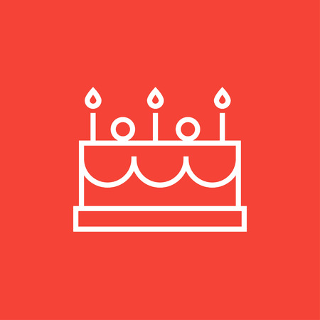 Birthday cake with candles thick line icon with pointed corners and edges for web, mobile and infographics. Vector isolated icon. 向量圖像