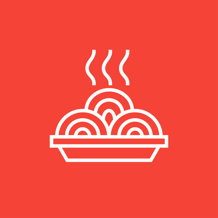 Hot meal in plate thick line icon with pointed corners and edges for web, mobile and infographics. Vector isolated icon.