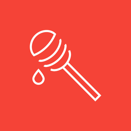 Honey dipper thick line icon with pointed corners and edges for web, mobile and infographics. Vector isolated icon.