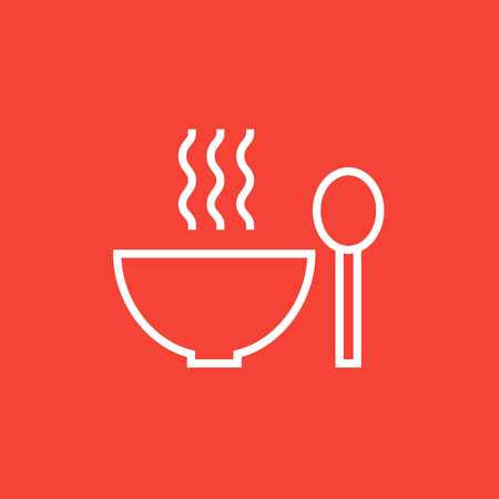 broth: Bowl of hot soup with spoon thick line icon with pointed corners and edges for web, mobile and infographics. Vector isolated icon. Illustration