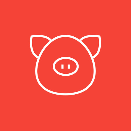 Pig head thick line icon with pointed corners and edges for web, mobile and infographics. Vector isolated icon. Stock Illustratie
