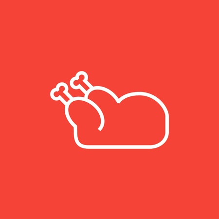 raw chicken: Raw chicken thick line icon with pointed corners and edges for web, mobile and infographics. Vector isolated icon.
