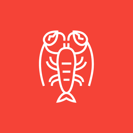boil: Lobster thick line icon with pointed corners and edges for web, mobile and infographics. Vector isolated icon.