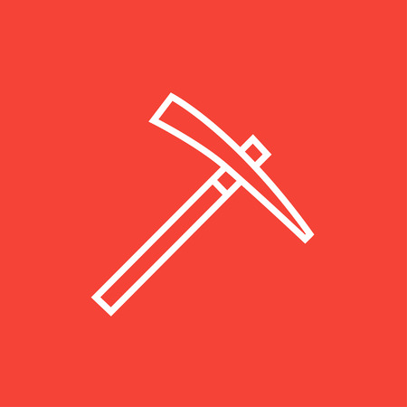 Pickax thick line icon with pointed corners and edges for web, mobile and infographics. Vector isolated icon.