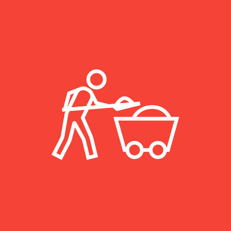 Mining worker with trolley thick line icon with pointed corners and edges for web, mobile and infographics. Vector isolated icon. Illustration