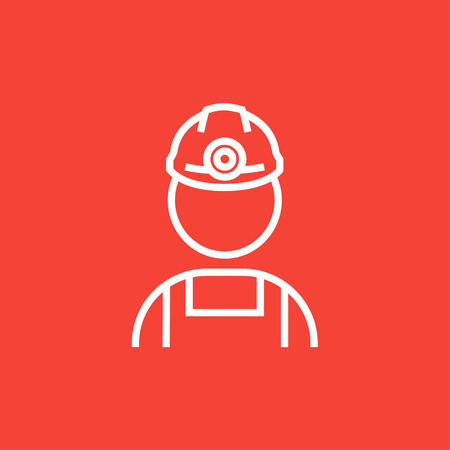 coal miner: Coal miner thick line icon with pointed corners and edges for web, mobile and infographics. Vector isolated icon.