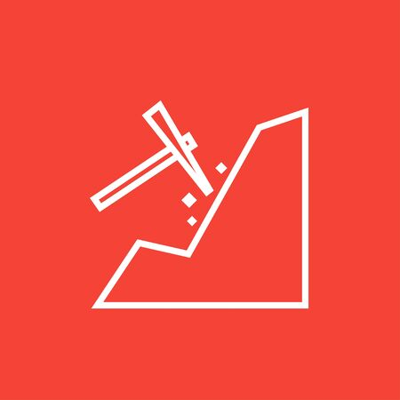 Mining thick line icon with pointed corners and edges for web, mobile and infographics. Vector isolated icon. Illustration