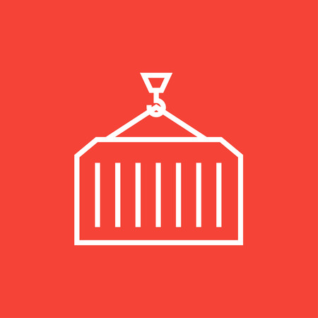 haul: Container lifted by a crane thick line icon with pointed corners and edges for web, mobile and infographics. Vector isolated icon.
