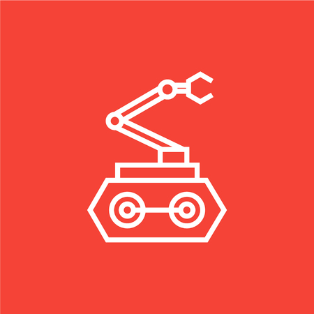 robot arm: Industrial mechanical robot arm thick line icon with pointed corners and edges for web, mobile and infographics. Vector isolated icon.