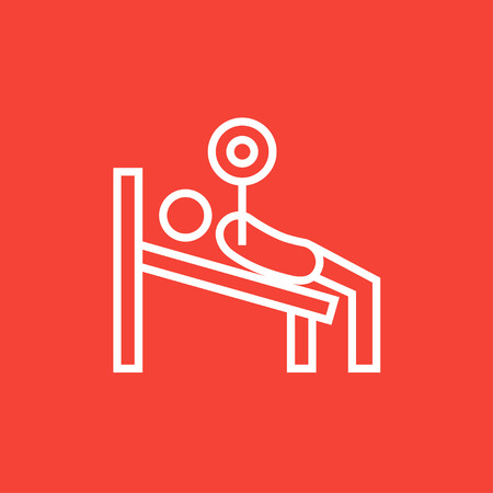 Man lying on bench and lifting barbell thick line icon with pointed corners and edges for web, mobile and infographics. Vector isolated icon.