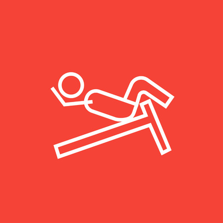 crunches: Man doing crunches on incline bench thick line icon with pointed corners and edges for web, mobile and infographics. Vector isolated icon. Illustration