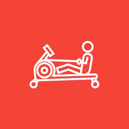 Man exercising with gym apparatus thick line icon with pointed corners and edges for web, mobile and infographics. Vector isolated icon. Stock Illustratie