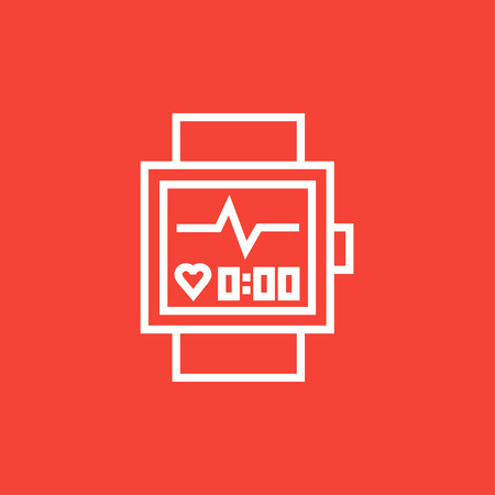 Smartwatch thick line icon with pointed corners and edges for web, mobile and infographics. Vector isolated icon. Ilustração