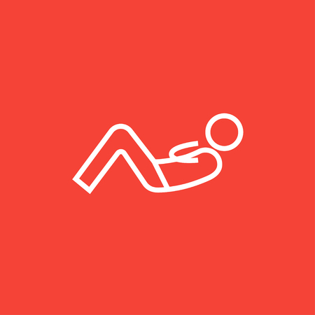 crunches: Man doing abdominal crunches thick line icon with pointed corners and edges for web, mobile and infographics. Vector isolated icon. Illustration