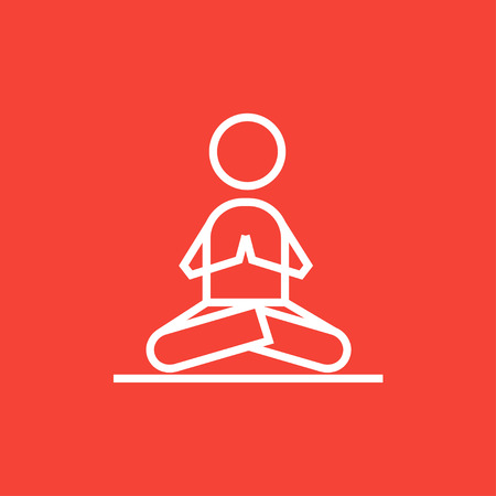 A man meditating in lotus pose thick line icon with pointed corners and edges for web, mobile and infographics. Vector isolated icon.