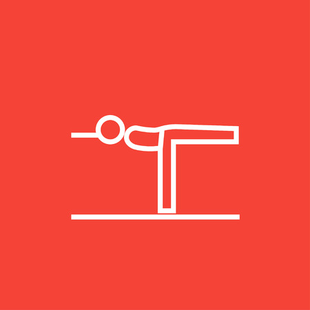 Man in the virabhadrasana III pose thick line icon with pointed corners and edges for web, mobile and infographics. Vector isolated icon.