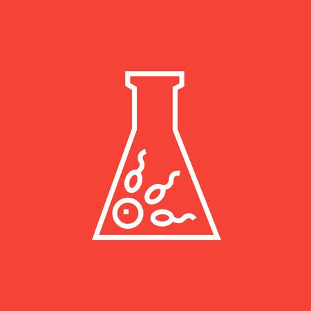 espermatozoides: La fertilización in vitro icono de línea gruesa con esquinas puntiagudas y bordes para web, móvil y la infografía. aislado vector icono. Vectores