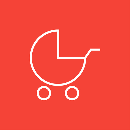 Baby stroller thick line icon with pointed corners and edges for web, mobile and infographics. Vector isolated icon. Çizim