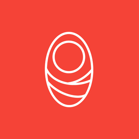 swaddling: Infant wrapped in swaddling clothes thick line icon with pointed corners and edges for web, mobile and infographics. Vector isolated icon.