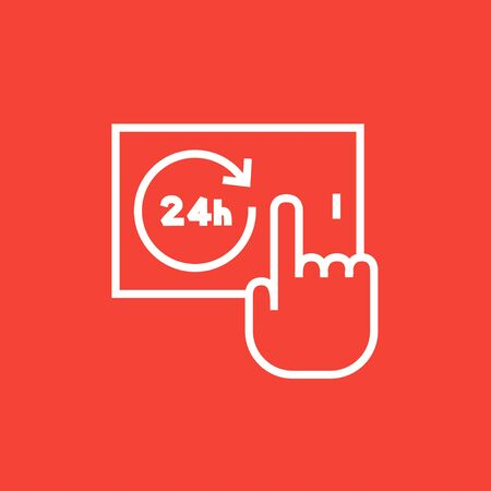 infographics touchscreen: Finger touching 24 hours service button on a touchscreen thick line icon with pointed corners and edges for web, mobile and infographics. Vector isolated icon. Illustration