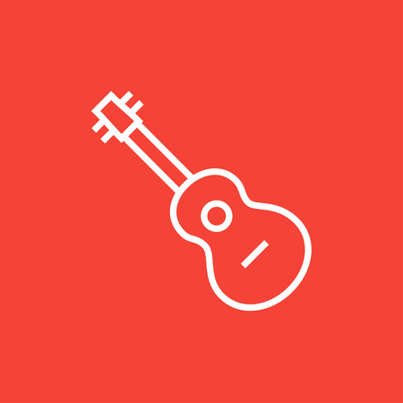 strum: Guitar thick line icon with pointed corners and edges for web, mobile and infographics. Vector isolated icon.