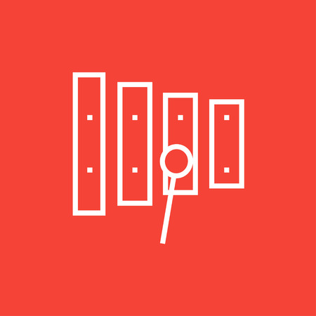Xylophone with mallet thick line icon with pointed corners and edges for web, mobile and infographics. Vector isolated icon.