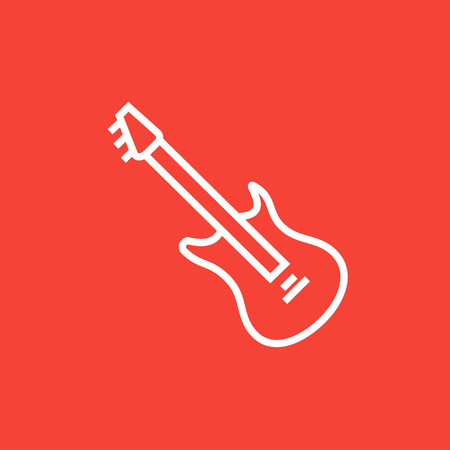 strum: Electric guitar thick line icon with pointed corners and edges for web, mobile and infographics. Vector isolated icon.
