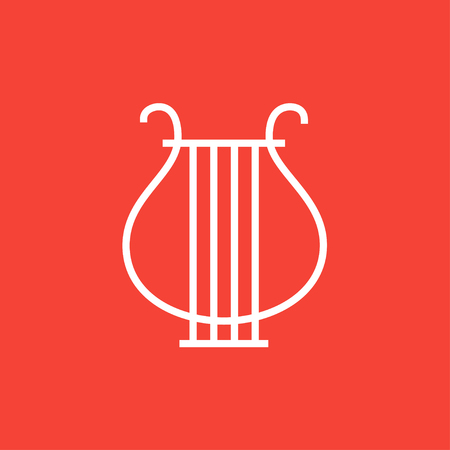 lyre: Lyre thick line icon with pointed corners and edges for web, mobile and infographics. Vector isolated icon.