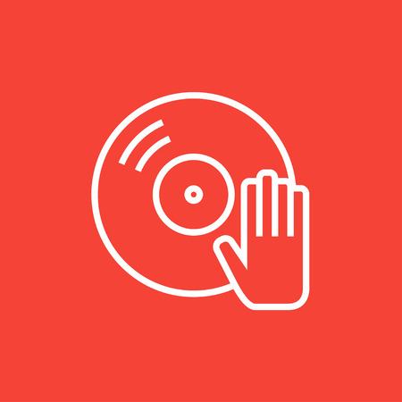 remix: Disc with dj hand thick line icon with pointed corners and edges for web, mobile and infographics. Vector isolated icon.