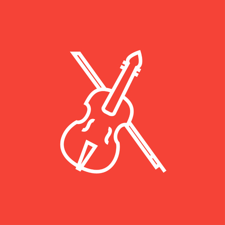 Violin with bow thick line icon with pointed corners and edges for web, mobile and infographics. Vector isolated icon. Çizim